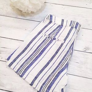 Women's Blue Striped Casual Shorts - Size 4